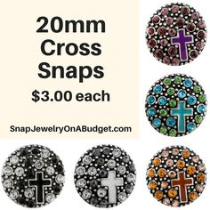 18mm/20mm cross snaps for snap jewelry, add these interchangeable snaps to a piece of base jewelry. Adding new snaps to my website, weekly. Sign up for my emails and get password access to all new items just posted and coupon codes to save on your order. www.SnapJewelryOnABudget.com https://www.facebook.com/groups/SnapJewelryOnaBudget/ 1000s of snaps and jewelry bases to choose from.