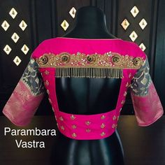 Back Neck Blouse detailing! Tag your picture to get featured on this page . Wedding Saree Blouse Designs, Stylish Blouse Design, Saree Blouse Neck Designs, Fancy Blouse Designs, Designer Blouse Patterns, Sarees, Blouse Desings, Look, Maggam Works