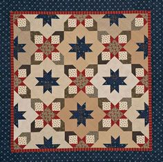 Starry Square-in-a-Square Quilt. Free pattern