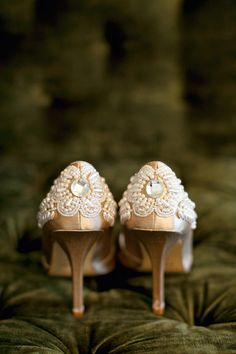 Intricate details on the brides shoes shot by Dan Stewart Photography