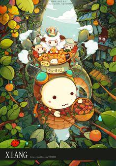采果实小分队~ by xiang. Graphic Design Illustration, Illustration Art, Concept Art Tutorial, Kawaii Art, Painting For Kids, Asian Art, Japanese Art, Cute Art, Fantasy Art