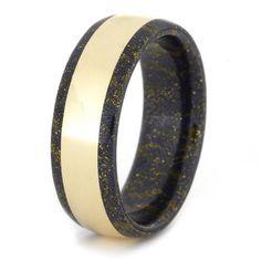 Lapis Mokume Gane Ring with 14k Yellow Gold by jewelrybyjohan