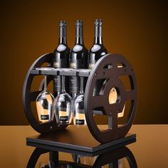 Creative 30x30x32cm Antique Curio Shelf Wood Wheel Wine Rack Furniture Vintage Decorative Champagne Stemware Bottle Glass Holder