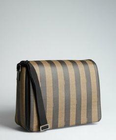 0af29f97c89d Fendi tobacco pequin striped spalmati messenger bag