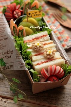 Strawberry Sandwich slices. Japanese moms put a lot of care into making their childrens' lunches, even cutting off the crust.