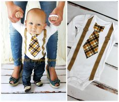 Baby Boy Tie and Suspenders Bodysuit. Tie Suspenders look is in.  Mustache party ideas. Cake Smash Birthday Outfit, Christmas, Holiday, Fall on Etsy, $19.00 SO FREAKING cute!!!!