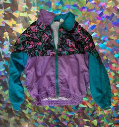 a8b2684679d6c2 S A L E SUPA KAWAII 80s Geometric Retro Windbreaker Jacket Nylon. 90s  FashionVintage ...