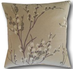 Pussy Willow Natural Cushions and Covers Handmade cushion cover in beautiful linen cotton mix fabric from designer Laura Ashley Inspired by the pussy Natural Cushions, Brown Cushions, Floral Cushions, Handmade Cushion Covers, Cushion Cover Designs, Handmade Cushions, Laura Ashley Pussy Willow, Laura Ashley Fabric, Cottage Crafts
