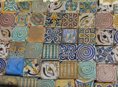 Hand-painted ceramic tiles at a street market in Marrakech, Morocco.