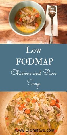 Low FODMAP Chicken and Rice Soup Recipe - Elaina Faye - Low FODMAP Chicken and Rice Soup Recipe. Made with carrots, celery, chicken broth, fresh herbs and c - Diet Soup Recipes, Healthy Recipes, Ibs Recipes Dinner, Smoothie Recipes, Fodmap Meal Plan, Best Nutrition Food, Nutrition Products, Nutrition Websites, Tater Tots