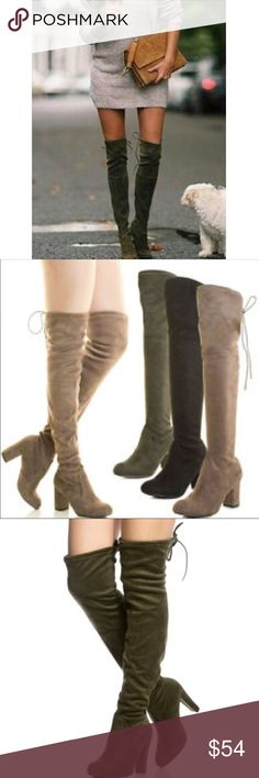 Olive green over the knee boots Faux suede beautiful over the knee boots in Olive green PLEASE Use the Poshmark new option you can purchase and it will give you the option to pick the size you want ( all sizes are available) BUNDLE and save 10% ( no trades price is firm unless bundled) Shoes Over the Knee Boots