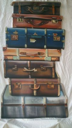 Koffers, frescolithe op mdf