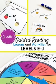 Guided Reading for First Grade: Lesson Plans, Books, & Activities {Levels E-J} Guided Reading Lesson Plans, Guided Reading Activities, Guided Reading Groups, Educational Activities, Decoding Strategies, Reading Comprehension Strategies, Phonics Lessons, Phonics Games, Phonemic Awareness Activities