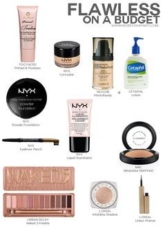 Flawless On A Budget- Products on the left are cruelty free, NAKED 3, Too Faced Primed and Poreless, Stay Matte But Not Flat NYX Foundation, NYX Illuminator