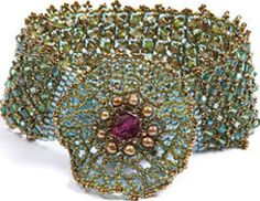 Corsage Cuff by Lisa Kan. A  beaded cuff accented with a focal beaded flower! Beaded bracelet project available for instant download from the Beading Daily Shop.
