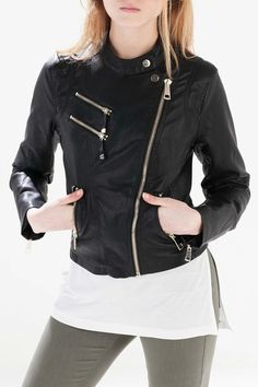 Black Stand Collar Faux Leather Jacket