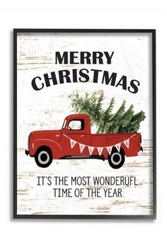 Christmas Most Wonderful Time Vintage Truck Framed Giclee Texturized Art