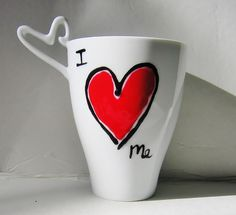 Valentine's Day I Love You Gift, Hand Painted Customizable White Ceramic Mug with unique heart shaped handle Tall Coffee Mugs, Painted Coffee Mugs, Funny Coffee Mugs, My Coffee, Personalized Coffee Mugs, Personalized Gifts, I Love You Mother, Joke Gifts, Mother Day Gifts