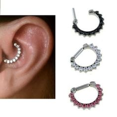 Rook Daith Tragus Ear Clicker With Jewels 14 gauge 8mm 5/16