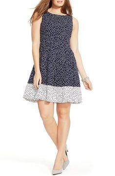 Lauren Ralph Lauren Reverse Dot Print Sleeveless Fit & Flare Dress (Plus Size)