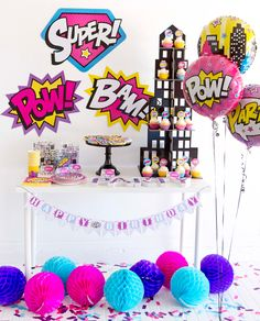 ZAP up these awesome Superhero Party FREE Printables; then POP on over to the Girl Superhero Birthday Party to get all the party details and DIYs! Batgirl Party, Fete Emma, Girl Superhero Party, Superhero Superhero, Girls Party Decorations, Decoration Party, 6th Birthday Parties, Birthday Ideas, Birthday Cupcakes