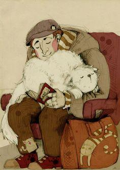Book lover and cats / Amante de la lectura y de los gatos (ilustración de Faqy)