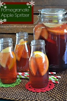 Pomegranate Apple Spritzer.....a shot of spiced rum would make this a yummy adult beverage!