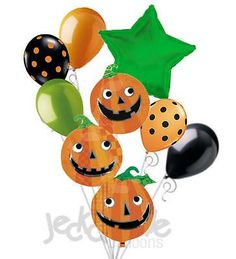7 pc Stack of Jack 'O Lantern Pumpkin Balloon Bouquet Decoration Happy Halloween