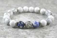 White howlite, sodalite, and sterling silver stacking, stretch bracelet by Earthwear Collection