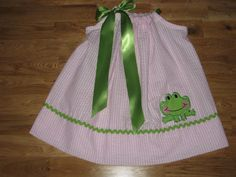 Appliqued Frog Pillowcase Dress by alphabetsoupboutique on Etsy, $28.00