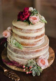 Nude Cream Semi-Naked Wedding Cake with Flowers