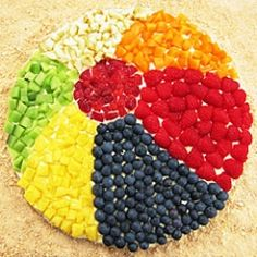 beach ball fruit pizza. pineapple, blueberries, strawberries, raspberries,  mandarine oranges, apple, and kiwi