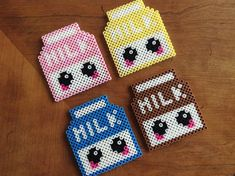 This is a set of 4 adorable kawaii milk carton coasters! The selection includes regular white milk, chocolate milk, strawberry milk, and banana milk! Easy Perler Bead Patterns, Melty Bead Patterns, Perler Bead Templates, Diy Perler Beads, Perler Bead Art, Beading Patterns, Hama Beads Kawaii, Embroidery Patterns, Crochet Patterns