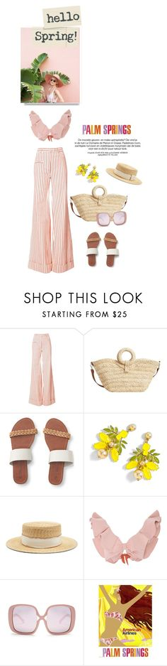 """""""Currently pretending I am at the beach"""" by iriadna ❤ liked on Polyvore featuring Rosie Assoulin, MANGO, Aéropostale, J.Crew, Filù Hats, Johanna Ortiz, Karen Walker, monochrome, summerstyle and palmsprings"""