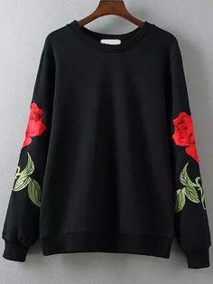Rose Embroidered Black Sweatshirt