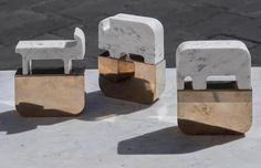 """LA CASA DI PIETRA / Artemest sceglie Fossili  """"L'evoluzione della specie umana si riflette nelle scoperte archeologiche; da scavi improbabili si recuperano un sasso costituito da marmo e metallo, oltre ad altri cinque oggetti dalle geometrie lavorate con grande abilità.  Sono segni, simboli, icone dalle forme antropomorfe; vere e proprie sculture portatrici di messaggi, contenuti e storia proveniente da lontano.""""  Acquista / Buy http://www.gumdesign.it/gum/sezioni/store_fossili.html"""