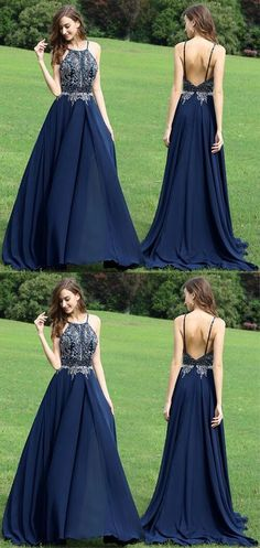 Halter navy blue prom dress, beaded long prom dress, backless stain evening dress
