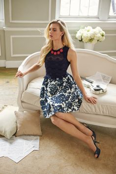 Feminine, flattering- fit & flare is back! Jessica Simpson navy lace dress #belk #fashion