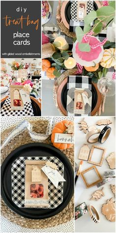 Thanksgiving Treat Bag Place Cards with Gilded Wood Embellishments. Create place cards and treat bags for your fall dinners. Guests will know where to sit AND have some special treats to take home after dinner!