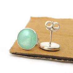 Silver  Studs Earrings  Light green mint color by SigalitAlcalai, $26.00
