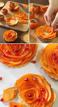 Persimmon Almond Rosette Tarts I have a huge tree full of these and now I have a recipe!
