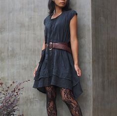 Artistic Collection...Sun and rain pleated dress Black (S-L)