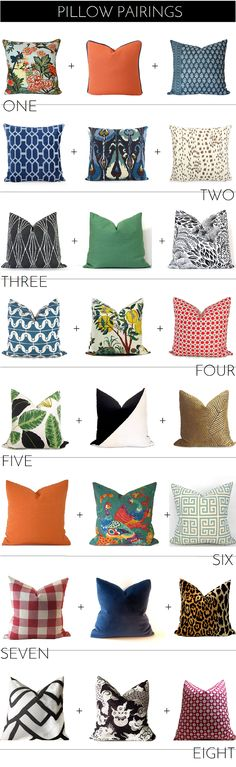 Pretty pillow pairings from Etsy; pattern mixing; decorating, color