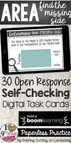 Area Task Cards | Digital Task Cards | Boom Task Cards | 3rd grade math | measurement for 3rd grade | Looking for digital task cards?  This of Boom Cards features 30 self-checking digital No-Prep task cards aligned to 3rd grade measurement standards. ( $ )