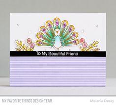 Stamps: Playful Peacock Die-namics: Playful Peacock Melania Deasy #mftstamps