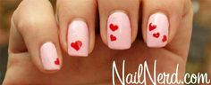 Pink and red hearts manicure