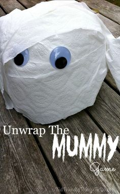 Unwrap the Mummy Game! Perfect for Preschool or Elementary School Halloween parties, or Hotel Transylvania Birthday Parties. You wont believe how easy this is, and how much the kids love unwrapping the toilet paper to find cute prizes! Halloween Designs, Halloween Tags, Teen Halloween Party, Halloween Games For Kids, Kids Party Games, Halloween Birthday, Birthday Parties, Halloween Crafts, Halloween 2017