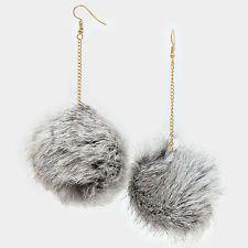 """4.5"""" grey rabbit fur pom pom dangle Earrings"""