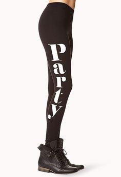 Party Forever Leggings | FOREVER21 Party people! #Leggings #Graphic #MustHave