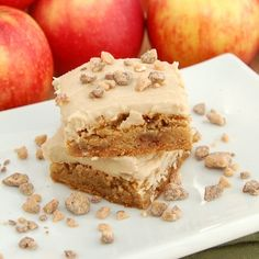 Apple Toffee Blondies with Brown Sugar Frosting    - Did this w/o the frosting   - Added more diced apples and choc chips instead of toffee.  - Reduced the sugar    Verdict: Really chewy and yummlicious!